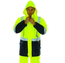 HIVIS 2 TONE LIGHTWEIGHT RAIN JACKET WITH 3M R/TAPE Brand Expand